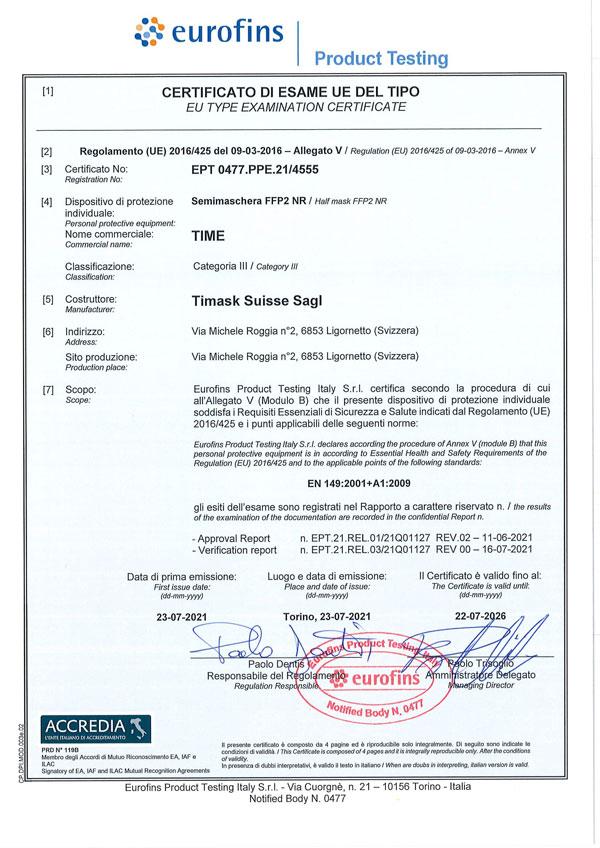 Certificato 4555 FFP2 TImask
