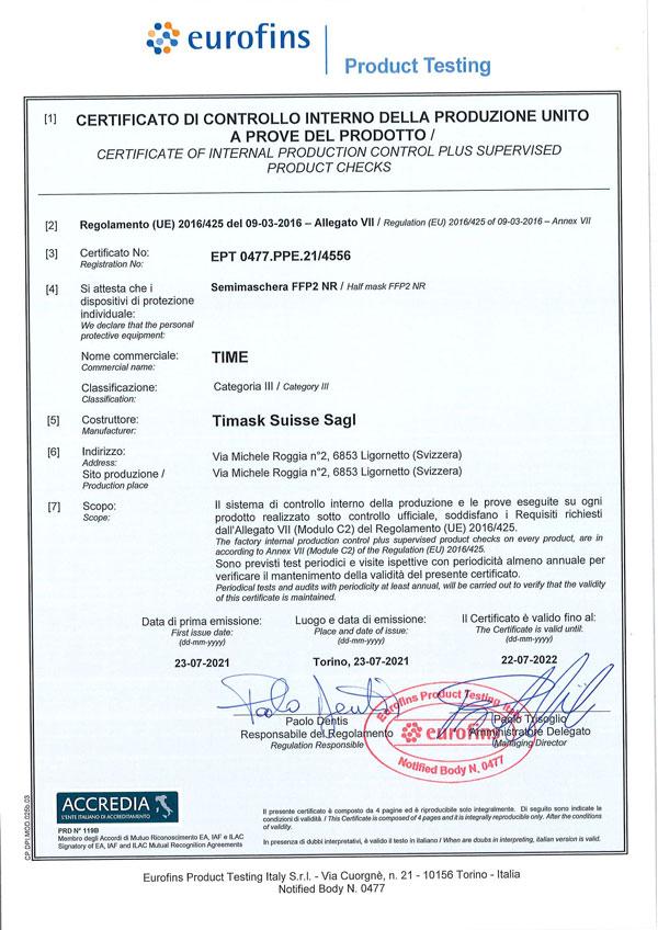 Certificato 4556 mascherine FFP2 TImask