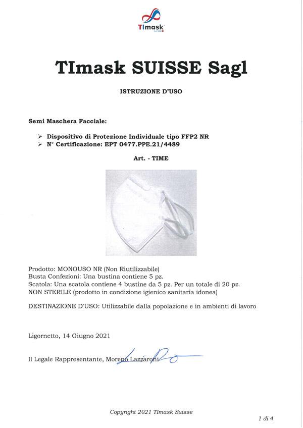 Modo d' uso mascherine FFP2 TImask firmato