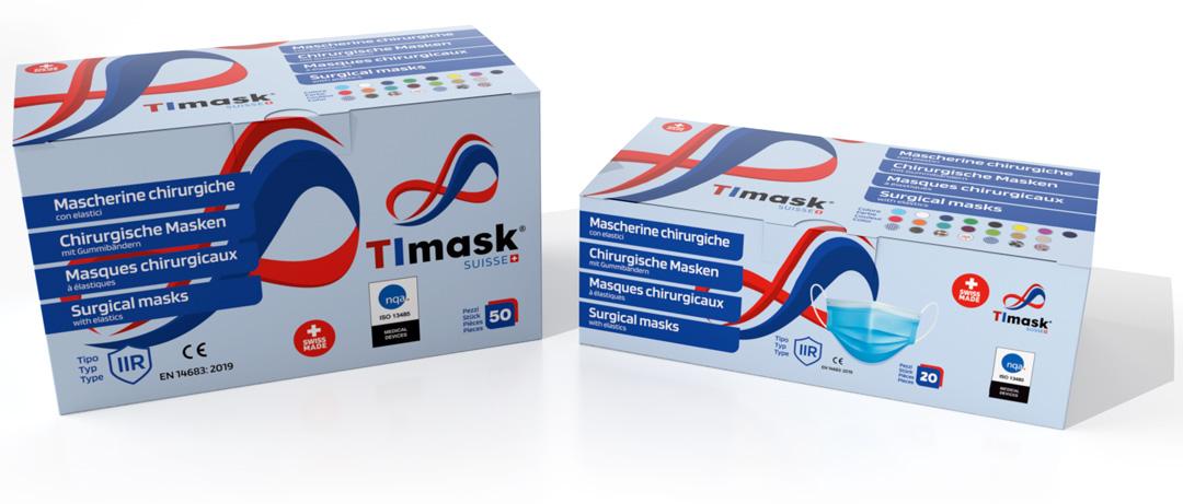 Scatole da 50 e 20 pezzi Mascherine chirurgiche TImask